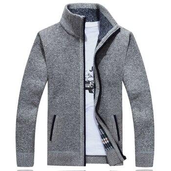 Sweater Men Autumn Winter Cardigan SweaterCoats Male Thick Faux Fur Wool Mens Sweater Jackets Casual Knitwear Plus Size M-4XL