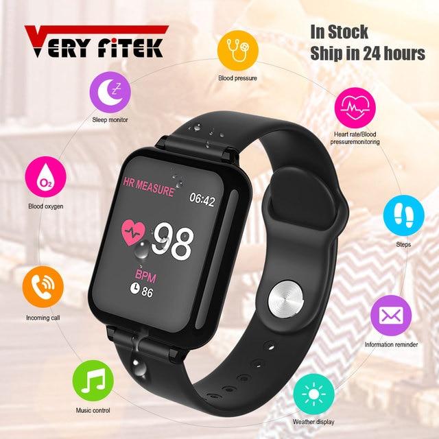 VERYFiTEK B57 montre intelligente pression artérielle oxygène Fitness Bracelet montre moniteur de fréquence cardiaque IP67 hommes femmes Sport Smartwatch B57 1