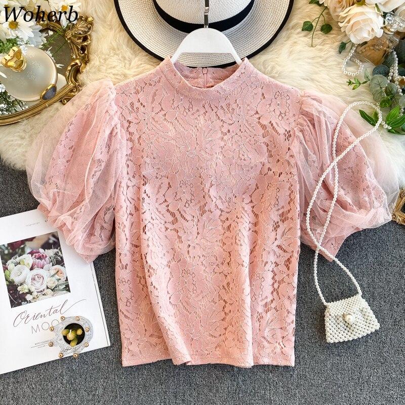 Woherb Korean Elegant Womens Tops And Blouses Vintage Lace Shirt Stand Collar Short Puff Sleeve Blusas Korean Fashion Clothing