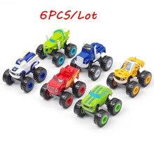 6 個のおもちゃレーシングカー炎モンスターおもちゃレーサー車トラックアクションフィギュア Opp 子供のギフト