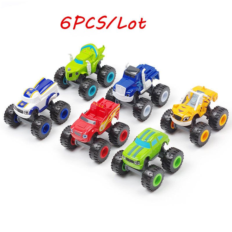 6PCS Toy Racing Car Blaze Monster Diecast Toy Racer Cars Trucks Action Figure OPP Bags For Kid Gift