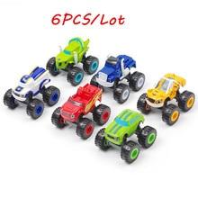 6PCS Toy racing car Blaze Monster Diecast Toy Racer Cars Trucks Action Figure OPP Bags for Kid Gift monster trucks
