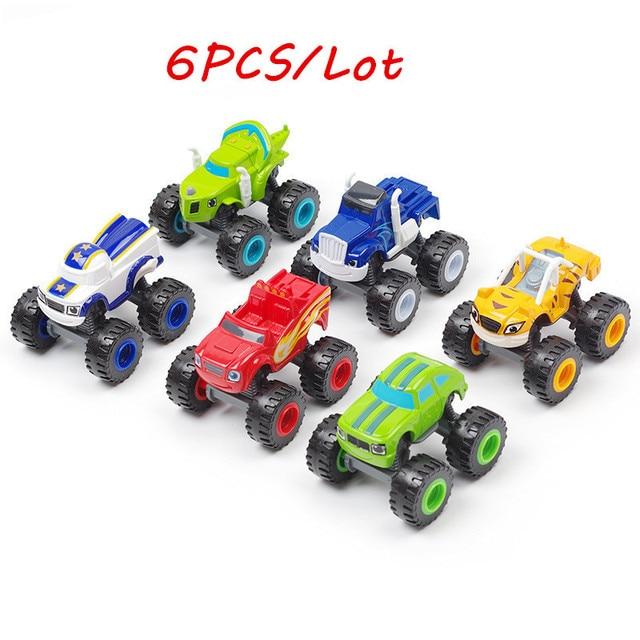 Blaze jouet de course automobile, voitures de course, sacs de course pour enfant, sacs de course, camions, figurines daction, sacs OPP, cadeau pour enfant 6 pièces