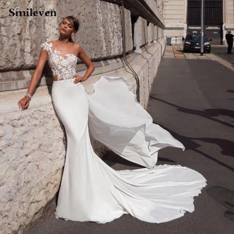 Smileven Mermaid Wedding Dress Satin Lace Appliqued Boho Wedding Gown Nude Top  Vestido De Noiva Bride Dresses