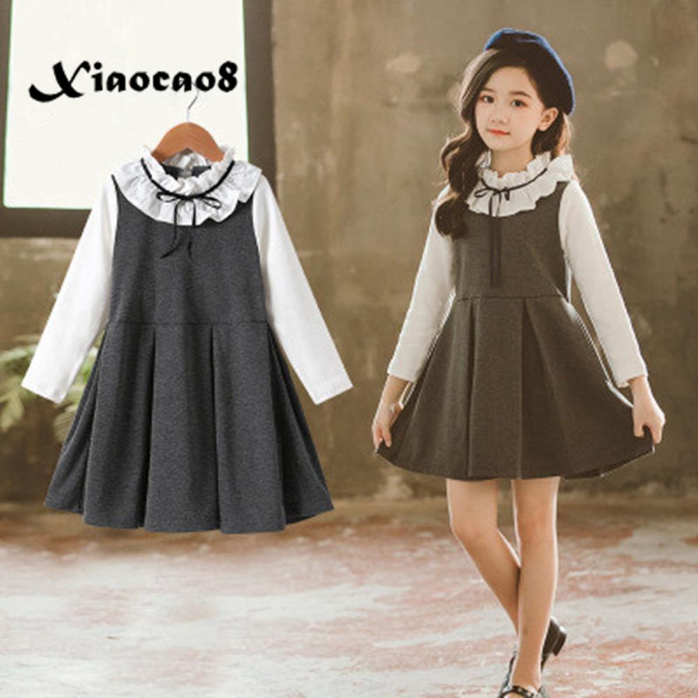 5 ~ 16Y filles automne robe enfants coton blanc blouse robes de princesse pour les filles faux deux pièces gilet robe printemps enfants vêtements