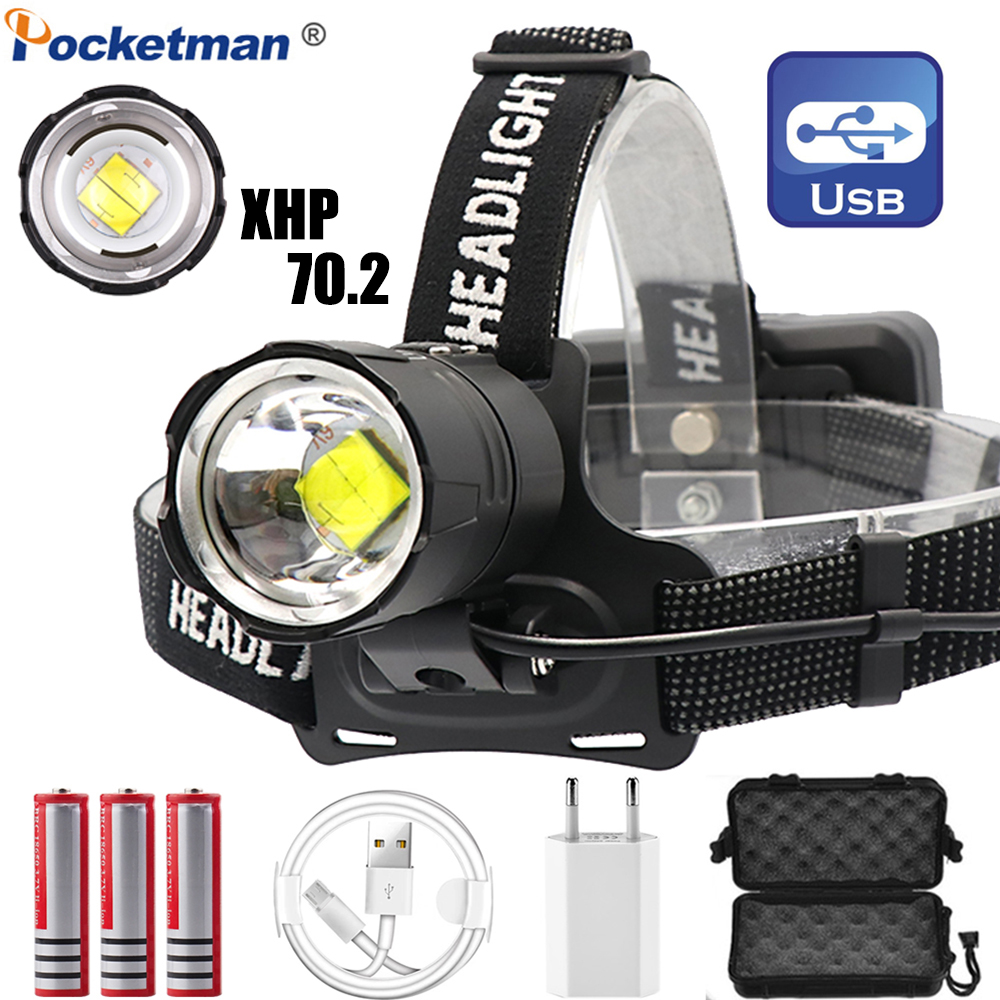 Powerful LED Headlight XHP70.2 Headlamp USB Rechargeable Head Lamp Zoomable Head Light With 18650 Battery USB Cable