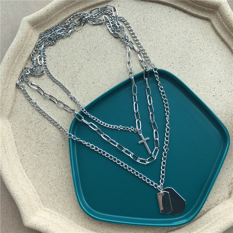 Ingemark Punk Multi Layer Cross Pendant Choker Necklace for Women Hip Hop Sequin Chunky Chain Necklaces Christian Couple Jewelry in Pendant Necklaces from Jewelry Accessories