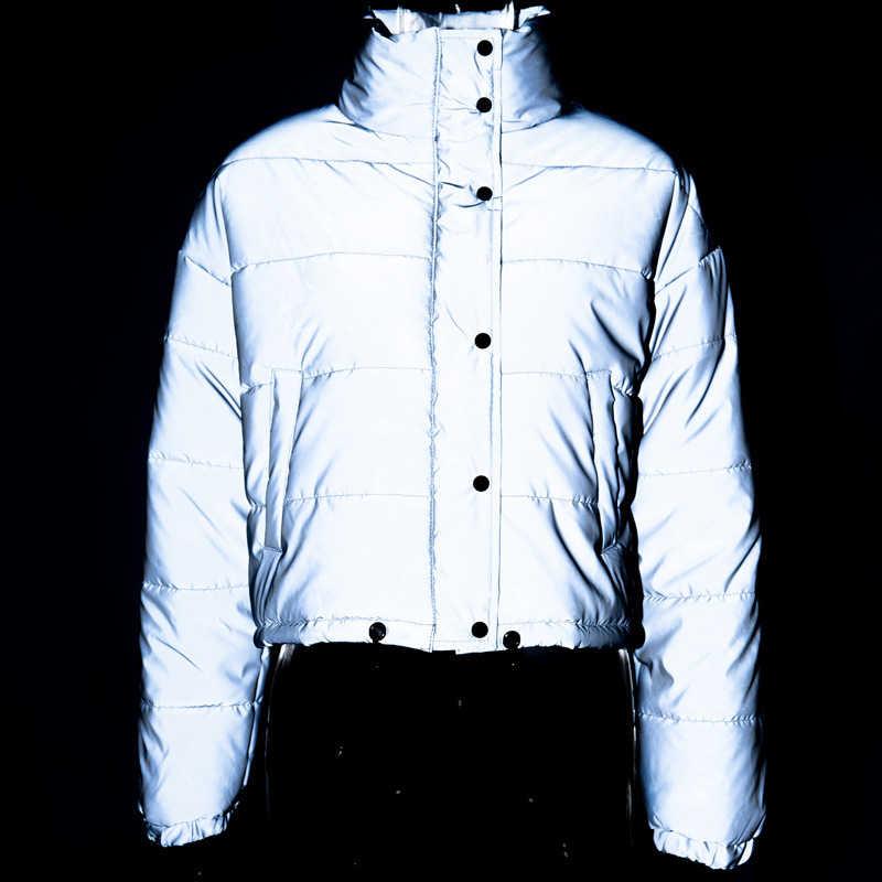 Inverno feminino moda refletor algodão-acolchoado outono jaqueta de beisebol de cintura alta feminino casual grosso quente harajuku bombardeiro holograma