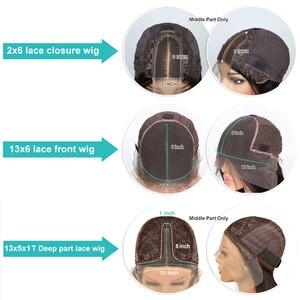 """Image 5 - 6 """"עמוק חלק תחרה קדמי שיער טבעי פאה מראש קטף עם T חלק תחרה פאת אמצע חלק ברזילאי רמי ישר 2x6 סגירת בוב 130%"""
