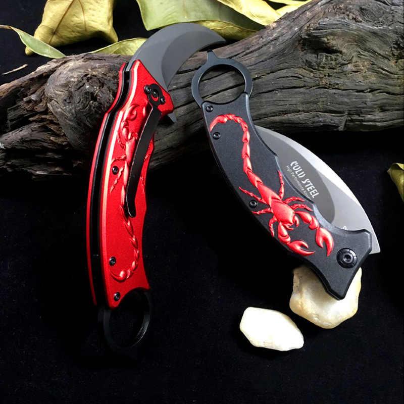 Açık Karambit bıçak avcılık bıçaklar kamp aracı Survival taktik bıçak paslanmaz çelik akrep pençe bıçak akrep desen