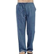 Pantalones informales holgados de algodón y lino para hombre, ropa con bolsillo, cintura elástica, para correr, # w