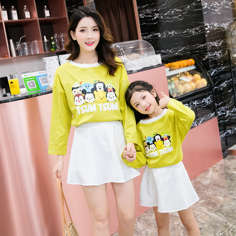 >2018 New Style <font><b>Autumn</b></font> <font><b>Clothing</b></font> Mother-daughter <font><b>Matching</b></font> Outfit Pure Cotton Stripes Long Sleeve Crew Neck Loose-Fit Fashion Casua