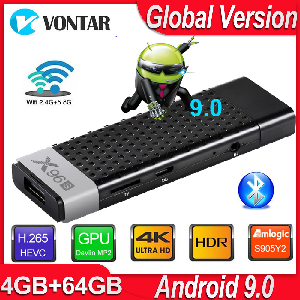 Android 9.0 TV Box X96S TV Stick Smart Mini PC DDR3 4GB RAM Amlogic S905Y2 2.4G/5G WiFi Bluetooth 4.2 4K Android TV Media Player