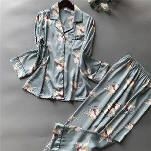 Image 5 - 2019 Satin Pyjamas Women Pajamas Sets with Pants 2019 Flower Print Long Sleeve Silk Sleepwear Pijama Mujer Female Nightsuit