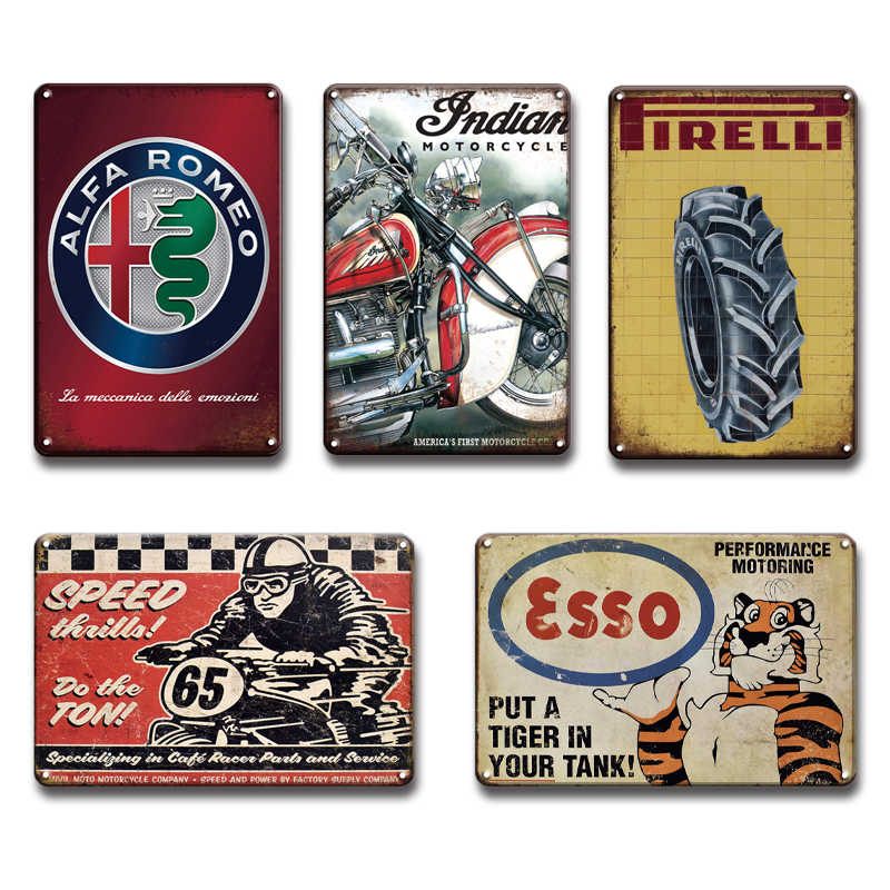 Vintage Ford Esso, cartel de Metal al óleo, carteles de hojalata Retro Chevrolet BSA Guif, signo de Metal de buen año, Chic Garage Man Cave Home, decoración de pared