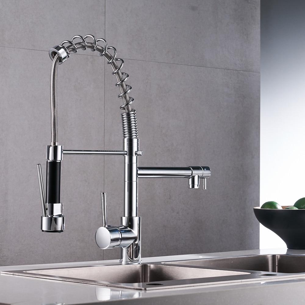 H6fed348be2a04fa9b192e21e3c9c0d5fw Uythner Chrome Finish Kitchen Faucet Dual Spout Kitchen Sink Crane Deck Mount Spring Kitchen Mixer Tap Kitchen Hot Cold Water#m