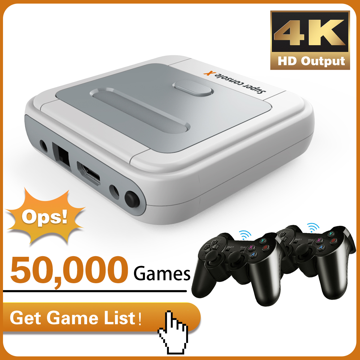 Video Game Console 4K HD Super Console Arcade Kids Retro Gaming Emulator Pre-install 50000 Games Output X-Pro TV/Gaming Player