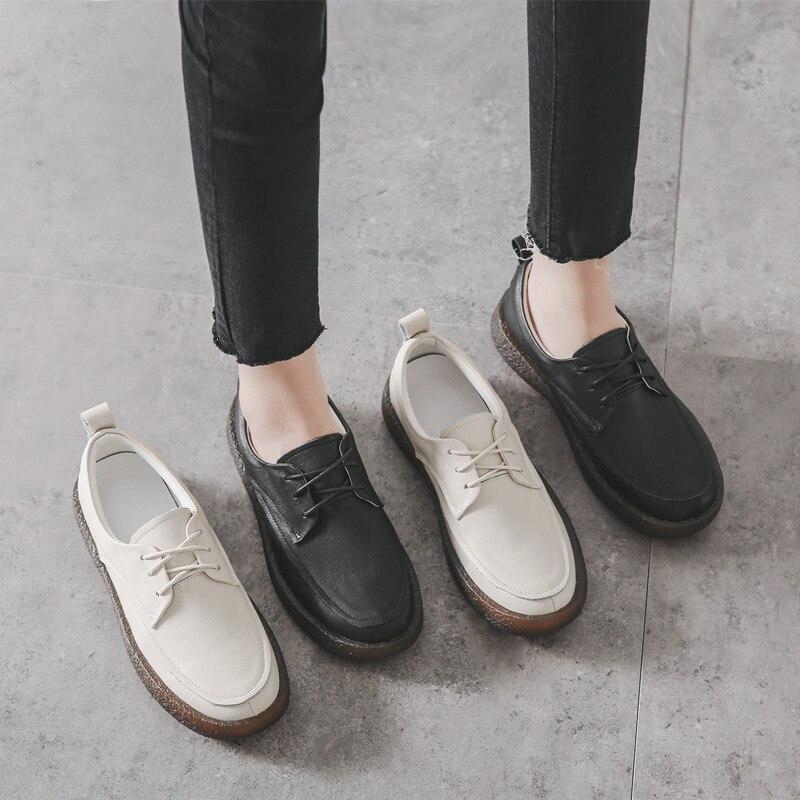 Femmes mocassins doux en cuir véritable chaussures plates femmes blanc automne à la main en cuir paresseux chaussures appartements sans lacet noir mocassin femmes - 2