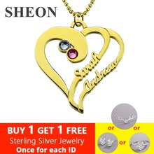 SHEON Authentic 925 Sterling Silver Birthstone Heart Necklace with Names for Lover Personalized Silver Jewelry Girlfriend Gift authentic sterling silver 925 mom s heart necklace with family names