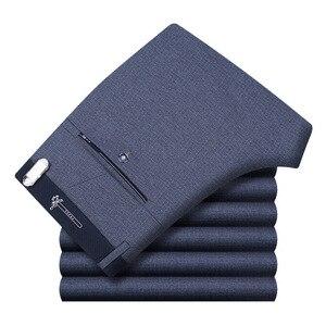 Image 5 - Pantalon décontracté, de coupe droite et grande taille pour homme, tenue formelle et classique de travail, de bureau, de taille haute