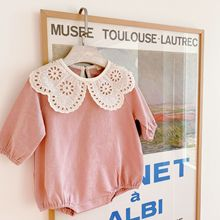 2021 new style babys girls lace romper cotton full sleeve spring fashion babys jumpsuit 6-24 month cheap coffigrez CN(Origin) Female 0-6m 7-12m 13-24m Solid O-Neck Covered Button Rompers A805 Fits true to size take your normal size