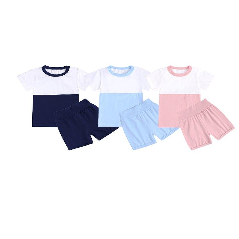 Летний спортивный костюм для детей, комплект одежды для маленьких мальчиков и девочек, Мягкий Топ в стиле пэчворк + шорты для девочек, компле...
