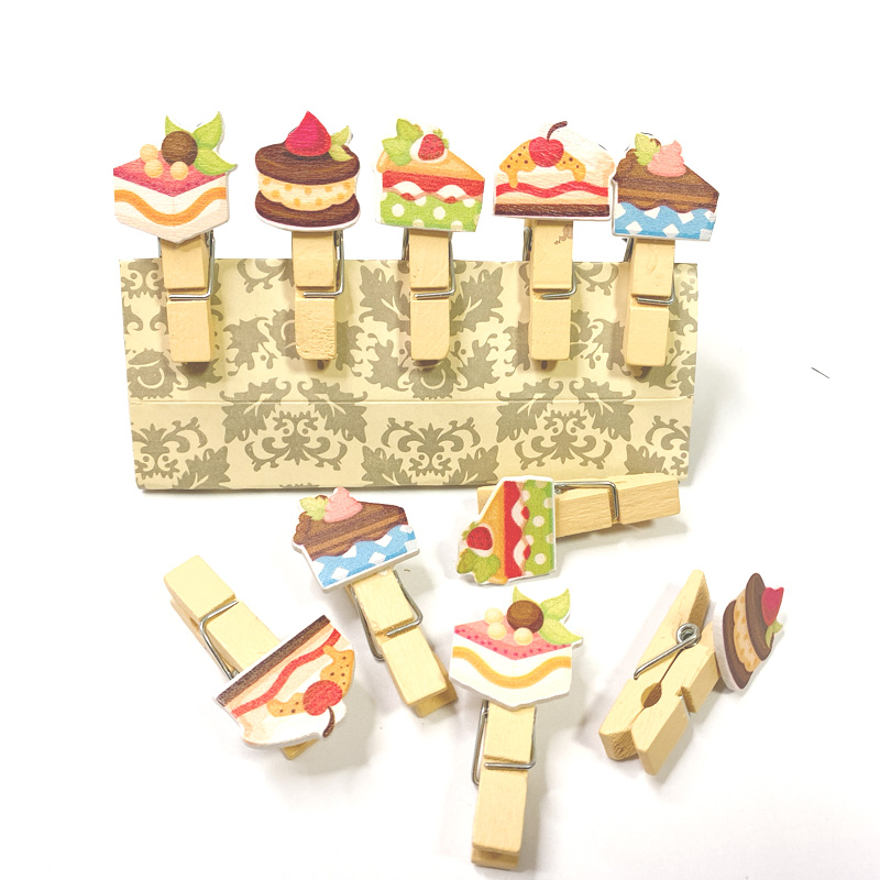 10packs/lot Mini Dessert Cake Wooden Clips Wooden Photo Clips Clips Clothespin Craft Decoration Clips Pegs