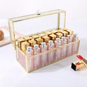 Image 4 - 24 Grids Gouden Rand Glas Lipstick Opslag Houders Koper Lipstick Make Up Cosmetische Organizer Glas Opbergdoos Met Deksel