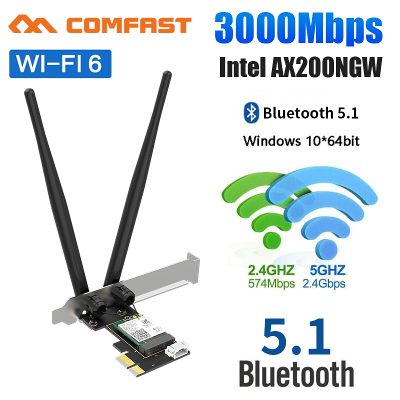 3000Mbps WiFi 6 PCI-E carte réseau 802.11ax/ac double bande 2.4G/5GHz sans fil Intel AX 200 PCI Express Wi Fi Bluetooth 5.1 adaptateur
