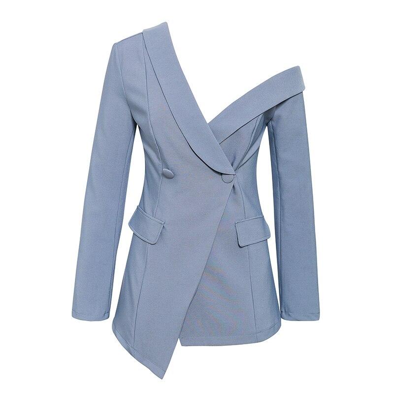 Sexy One Shoulder Women Blazers And Jackets Asymmetrical Work Winter Pure Blazers Female Office Ladies Blazer Long Sleeve Coat