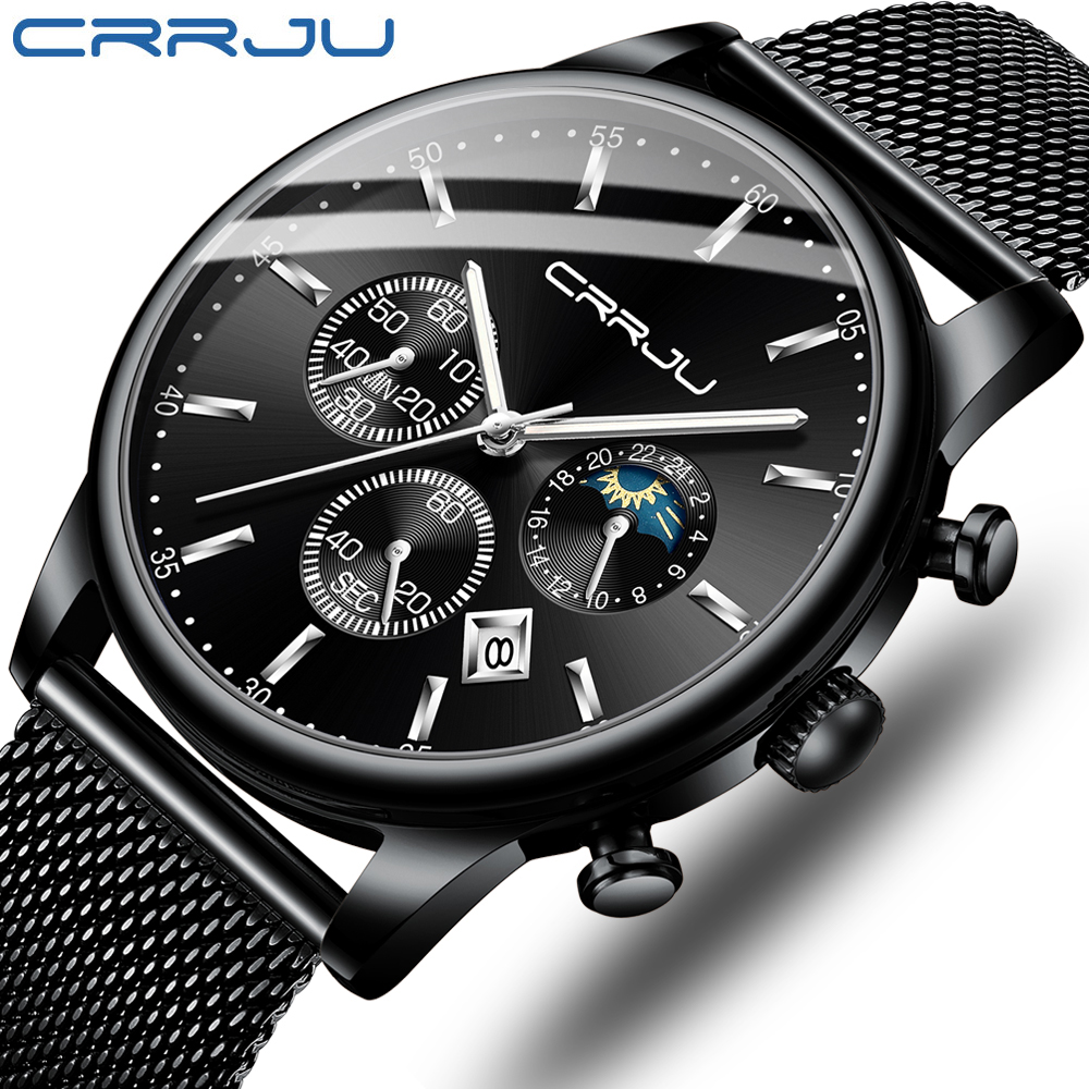 2020 New CRRJU Casual Mesh Belt Fashion Chronograph Quartz Gold Watch Top Brand Luxury Waterproof Date Clock Relogio Masculino