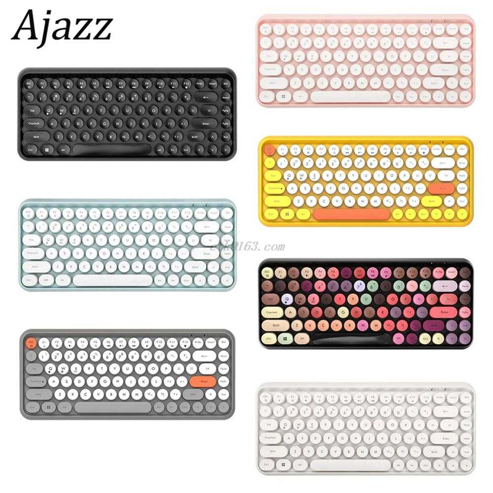 Ajazz 308i Tastiera Senza Fili di Bluetooth Rotondo Cap Key Gaming Tastiera con 84 Tasti per iPhone/Un-droid/I Sistemi Windows