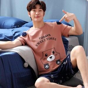 Image 3 - Yidanna cartoon short sleeve pajamas set for men minions sleepwear plus size pyjamas cotton nightwear O neck homedress in summer