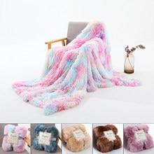 Cobertor dupla camada super macio arco-íris tie-tintura impresso cobertura cobertor peludo fofo confortavel lance cobertor