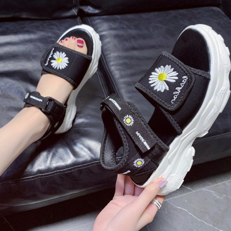 Women Platform Chunky Sandals Brand Flower Casual Wedges Shoes for Woman Fashion Sports Black Open Toe Gladiator Sandal Summer