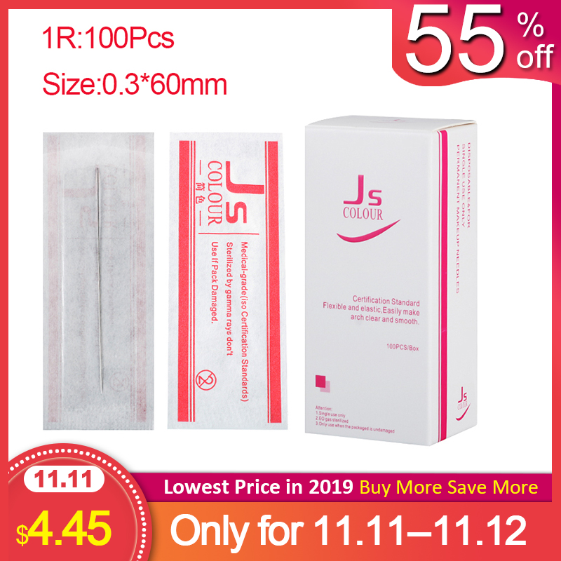 0.3*60MM Tattoo Needles 1RL 100pcs/lot Disposable Sterilized Professional For Tattoo Eyebrow Pen Machine Permanent Makeup