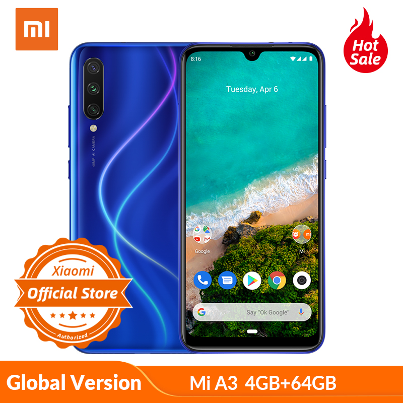 "Global Version Xiaomi Mi A3 Smartphone 4GB 64GB 32MP Selfie Android One Snapdragon 665 48MP 4030mAh 6.09"" In Screen Fingerprient"