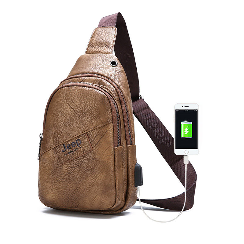 Hot Sale Mens Chest Bag 2019 High Quality Men Leather Pack USB Backbag with Headphone Hole Functional Travel Male