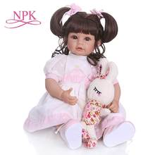 NPK 50CM adorable sweet long curly hair princess toddler girl doll silicone doll reborn toys for children brinquedos Adora недорого