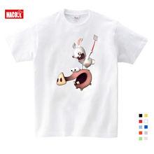 Лидер продаж летние футболки забавный кролик Мультяшные детские