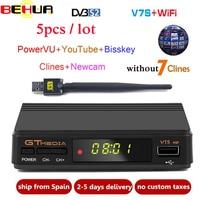 5pcs Freesat V7S HD DVB S2 Satellite Receiver Full 1080P HD Receptor Support Cline PowerVu YouTube Biss key Set Top Box PK V7 HD