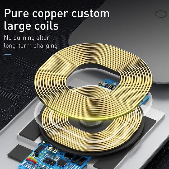 Baseus 15w qi carregador sem fio suporte qi carga rápida suporte do telefone multifuncional almofada de carregamento sem fio para iphone 11 pro samsung 3