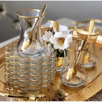 Turecki kubek do herbaty Pasabahce Melis pozłacane 12 sztuka zestaw do herbaty turecki arabski rosyjski zestaw do herbaty pięć herbaty autentyczne czajnik do herbaty garnitury tanie i dobre opinie Kubek herbaty i Spodek Zestawy TR (pochodzenie)