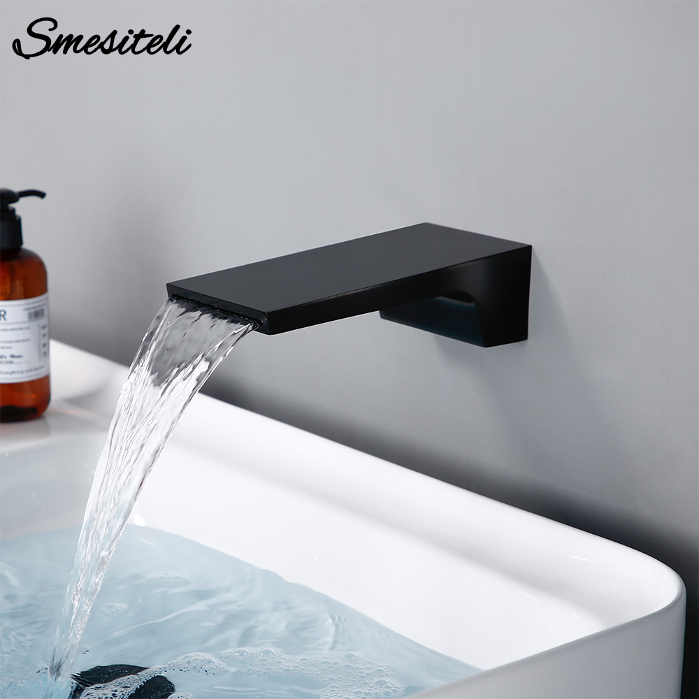 Smesiteli Wholesale And Promotions Wall Waterfall Bath Spout Basin Diverter Mixer Tap Brass Square Faucet Matte Black Finish