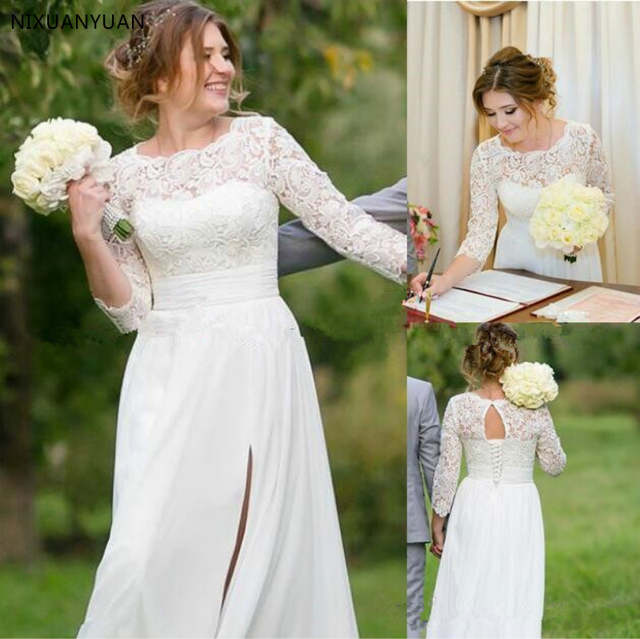 2020 Bohemian A Line Wedding Dress Sexy Lace Chiffon Side Split Bridal Gown Boho 34 Sleeves Wedding Gowns Open Back Lace Up