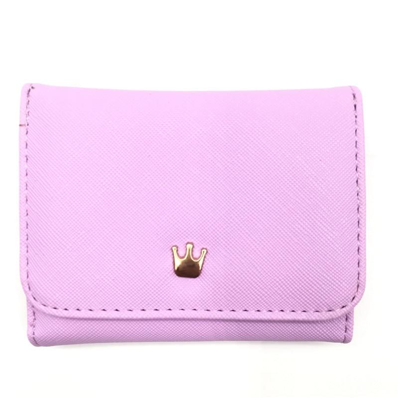 Женский маленький кошелек на молнии, женские короткие кошельки, украшенные короной, Мини кошельки для денег, складные кожаные женские портмоне, держатель для карт - Цвет: Purple