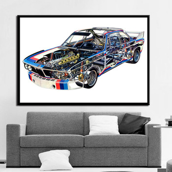 Bmw M3 E30 Component Diagram Gtr Super Racing Car Chart Poster And Prints Painting Art Wall Pictures For Living Room Home Decor image