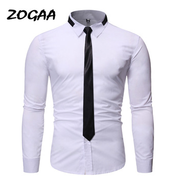 ZOGAA Men's Top Fashion Men's Shirt Personality Neckline Tie Design 2020 Casual Slim Long Sleeve Shirt Men's Solid Color Top v neckline fluted sleeve gingham top
