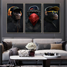 Animal Painting Funny Headphone Gorilla Canvas Oil Paintings Wall Art Posters and Print Canvas Prints for Livingroom Decoration