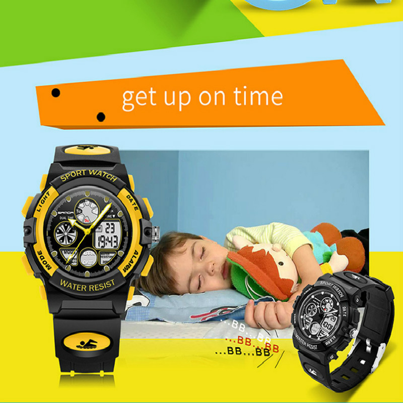 Outdoor-Watch Sports Waterproof Kids Children Student Quartz 3bar Luminous for Multi-Function